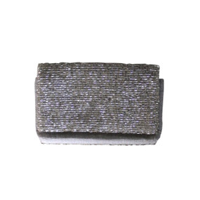 Open @ Your Own Risk | Silver & Black Beaded Cardholder