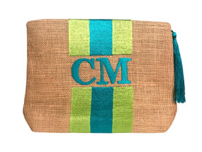 Embroidered Stripe Handbag | Aqua & Lime