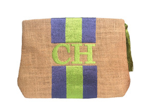 Embroidered Stripe Handbag | Blue & Lime