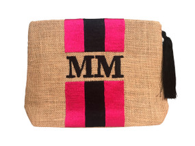 Embroidered Stripe Handbag | Pink & Black