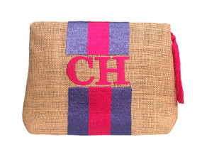 Embroidered Stripe Handbag | Pink & Purple