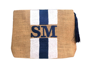 Embroidered Stripe Handbag | White & Navy