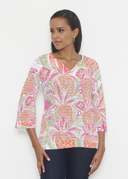 Before & Again   Banded 3/4 Bell Sleeve Tunic   Pineapple Coral