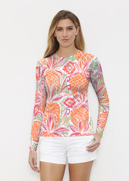 Before & Again   Long Sleeve Active Top   Pineapple Coral