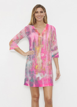 Before & Again | Banded Coverup Dress | Tiki Pink