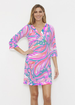 Before & Again | Banded Coverup Dress | Fiona Pink