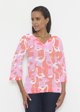 Before & Again | Banded 3/4 Bell Sleeve Tunic | Camo Flamingo Coral