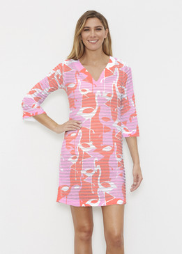 Before & Again | Banded Coverup Dress | Camo Flamingo Coral