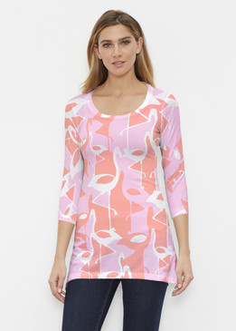 Before & Again | Buttersoft Tunic | Camo Flamingo Coral
