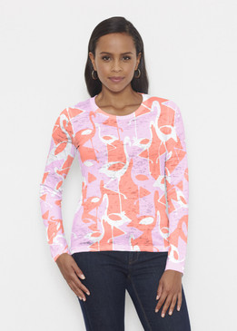 Before & Again | Crew Neck Long Sleeve | Camo Flamingo Coral