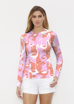Before & Again | Long Sleeve Active Top | Camo Flamingo Coral