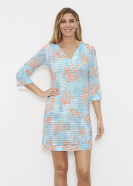 Before & Again | Banded Coverup Dress | Shoreline Aqua