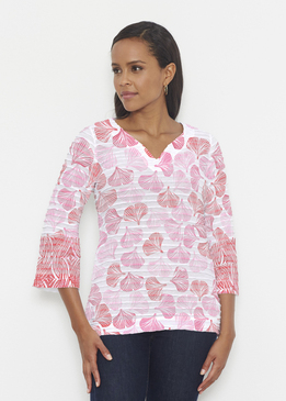 Before & Again | Banded 3/4 Bell Sleeve Tunic | Ginko Pink
