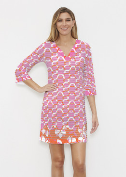 Before & Again | Banded Coverup Dress | Squiggles Pink