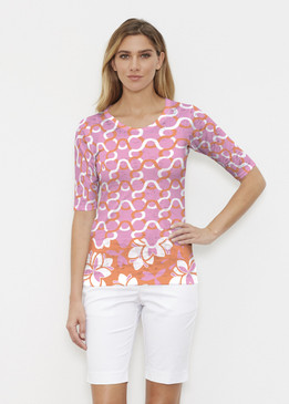 Before & Again | Elbow Sleeve Crew | Squiggles Pink