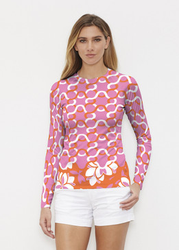 Before & Again | Long Sleeve Active Top | Squiggles Pink