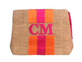 Embroidered Stripe Handbag | Orange & Pink