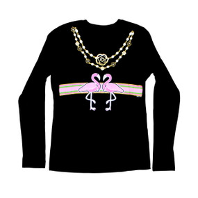 Flamingo-A-Gucci Sparkling Long Sleeve Black Tee