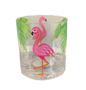 Flamingo Party Hand Painted Acrylic Double Old Fashioned