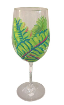 Banana Leaf Hand Painted Acrylic White Wine Glass