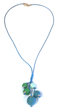 Long Threaded Ball Bundle Necklace | Green & Blue