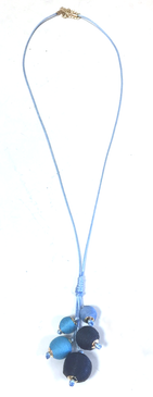 Long Threaded Ball Bundle Necklace | Multi Blue