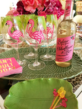 Flamingo Party Hand Painted Acrylic White Wine Glass | Insta