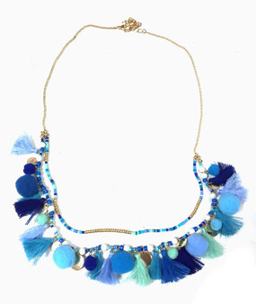 Tassel Pom Pom Double Strand Necklace | Multi Blue