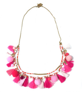 Tassel Pom Pom Double Strand Necklace | Multi Pink