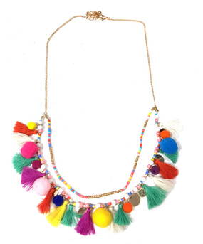 Tassel Pom Pom Double Strand Necklace | Multi