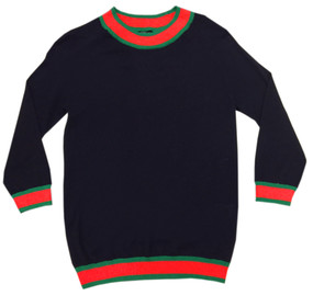 Gucciesque Crew Neck Lace Back Sweater | Navy
