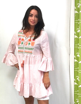 Embroidered Babydoll Dress | Pink & White Stripe