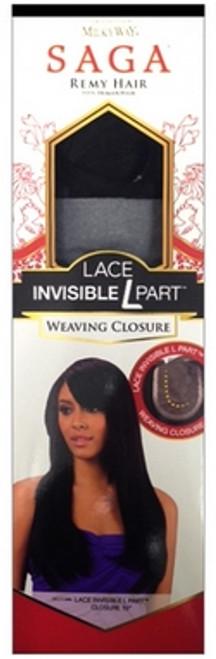 """Saga Remy Human Hair Lace Invisible L Part Weaving Closure- 10"""""""