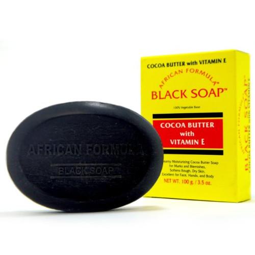 African Formula Black Soap Box 3.5oz With Cocoa Butter & Vitamin-E