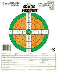 Champion Scorekeeper 50 Yard Small Bore Notebook Targets - Green / Orange Bull - 12 Pack - 076683457639