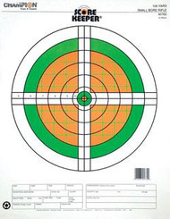 Champion Scorekeeper 100 Yard Small Bore Rifle Targets - Green / Orange Bull - 12 Pack - 076683457622
