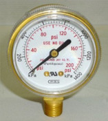 Gauge, 200PSI, 1/4NTP, Plain