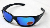 Elvex Safety Sunglasses Black frame/Blue mirror