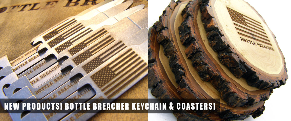 Bottle Breacher Keychain and Coasters