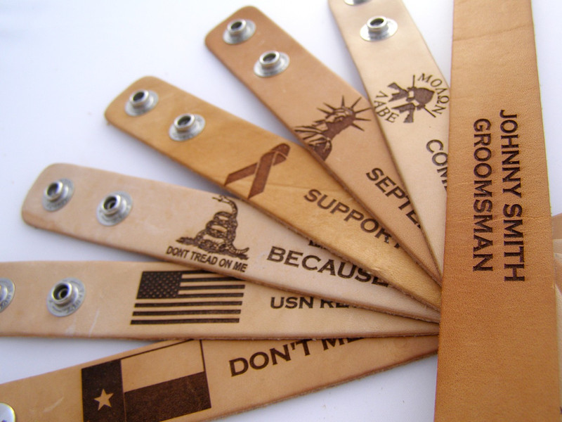 Leather Breacher Band Choice of Logos: No logo, Molon Labe, Statue of Liberty, Support Ribbon, Don't Tread on Me Gadsden Flag, American Flag and Texas State Flag