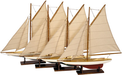 Authentic Models Mini Pond Yachts, Set of 4 Sailboat Models