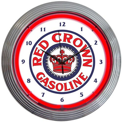 Neonetics Red Crown Gasoline Neon Clock