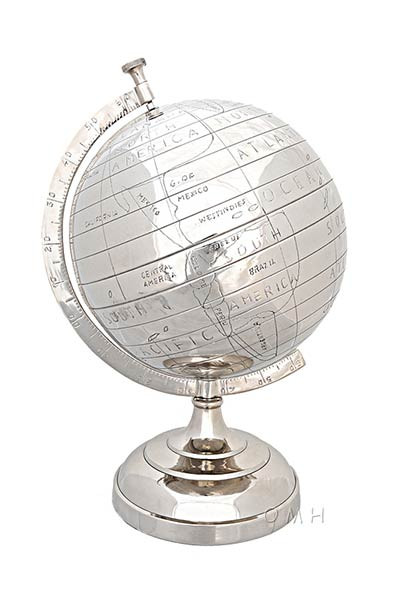 Aluminum Primitive Globe 13 Inches