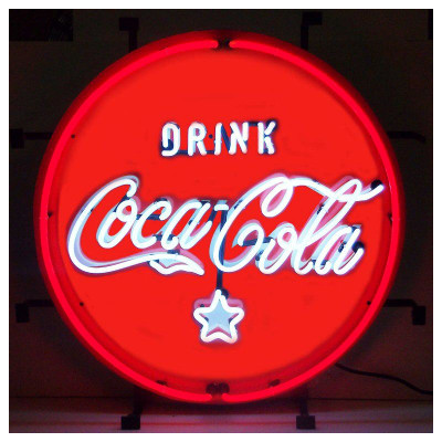 Coca-Cola Red White and Coke Circle Neon Sign
