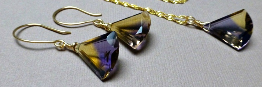 AMETRINE QUARTZ FAN SYNCH ME NECKLACE EARRINGS - GOLD FILLED