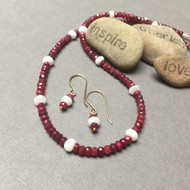 Handmade Ruby and Silverite Noble Grace 14K Gold Necklace and Earrings.