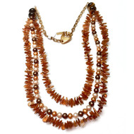 Multi-Strand Citrine Freshwater Pearl Creativity Necklace