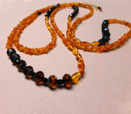 Amber Czech Glass Enliven Necklace Earrings
