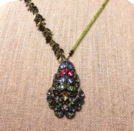 Peridot Rhinestone Warmth and Abundance Asymmetrical Necklace