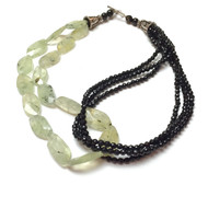 Sterling Silver Black Onyx Prehnite Multi-Strand Necklace